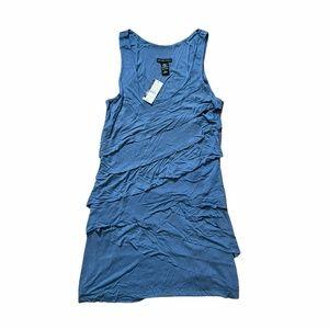 NWT NY & Co. Blue Tank-Top Diagonal Tier Dress